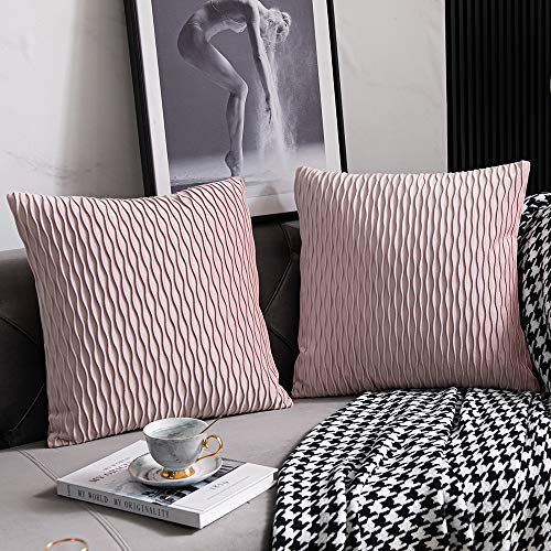DEZENE 16x16Inch(40cmx40cm) Pink Cushion Covers: 2 Pack Original Striped Velvet Square Decorative Pillow Cases for Bedroom Couch
