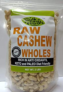 Premium Raw Cashew Wholes 100% Natural Large Whole Unsalted (Keto and Paleo Diet Friendly) Bulk Packs by BulkRawFoods (Conventional Wholes, 5 Pounds)