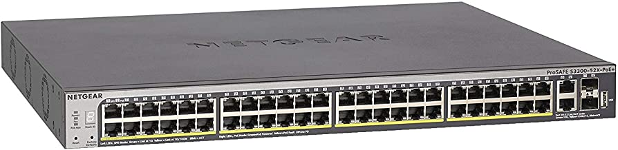 NETGEAR 52-Port Gigabit/10G Stackable Smart Managed Pro PoE Switch (GS752TXP) - with 48 x PoE+ @ 390W, 2 x 10G Copper and 2 x 10G SFP+, Desktop/Rackmount, and ProSAFE Limited Lifetime Protection