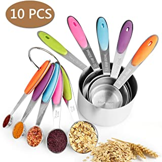 mopalwin Juego de 10 Cucharas Medidoras de Acero Inoxidable,con 2 Anillas y Mango de Silicona para Cocina Cucharas Hogar