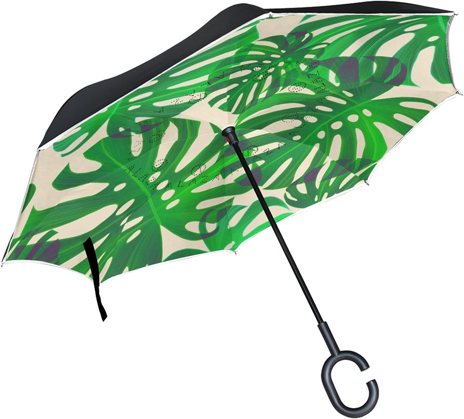 FOLPPLY Ingreened Umbrella Tropical Palm Pattern,Double Layer Reverse Umbrella Waterproof for Car Rain Outdoor with CShaped Handle