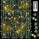 95 Ft 12pcs Plantas Hiedra Artificial Colgante, 100 LED Guirnalda Hiedra Artificial...