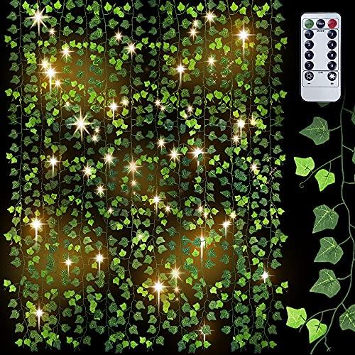 28.8M Lierre Artificielle Plantes Guirlande Vigne12pcs, Faux Lierre Feuillage Artificiel Feuille 100 LED Exterieur Lierre Artificielle Guirlande Décoration pour Mariage Balcon Cuisine Jardin
