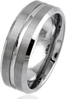 Personalized Engraved Silver 6mm/8mm Tungsten Carbide Band Ring w/Brushed Satin Finish Band, Center Recessed Stripe and Beveled Edges.