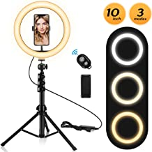 """10.2"""" Ring Light with Stand and Phone Holder, Adjustable(16.56'' to 53.5'') Selfie Ring Light, 3 Lighting Modes and 11 Brightness Levels, Ring Light for YouTube Video/Live Stream/Makeup/Photography"""