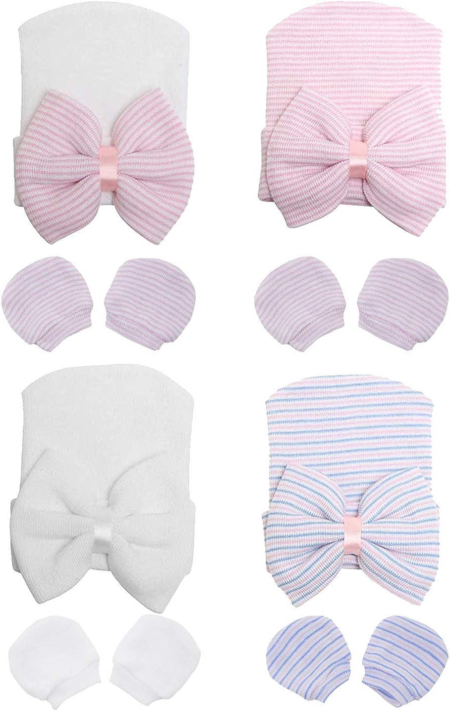 Gellwhu Newborn Girl Beanies Hats Baby Scratch Mittens Gloves Infant Nursery Large Big Bow Hospital Caps (4 Beanie Hats & 4 Pairs Mittens Gloves)
