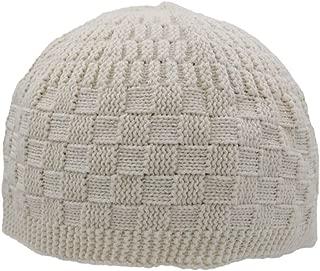 Checkered Knit Islamic Prayer Cap One-Size Turkish Kufi Hat Taqiya Takke Peci