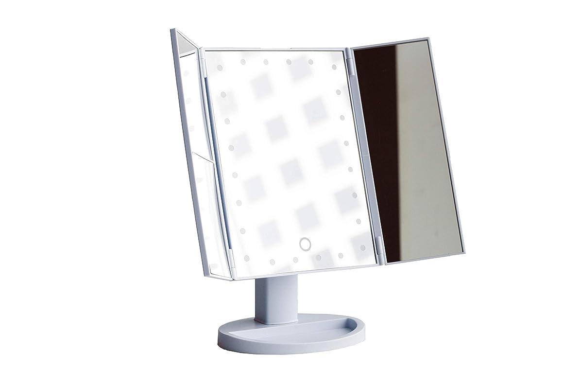 ソーセージ勇敢なパワーGrace & Stella LEDライト メイクアップミラー 化粧鏡 鏡 三面鏡 卓上 24のLEDライト 折りたたみ 拡大鏡機能(2倍?3倍?10倍)USB電源コード(バッテリー機能付き2WAY給電)携帯可能
