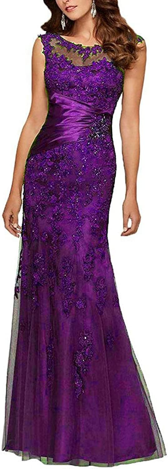 HIDRESS Women's Appliques Mermaid Formal Prom Dresses Floor Length Evening Party Dresses BQ138