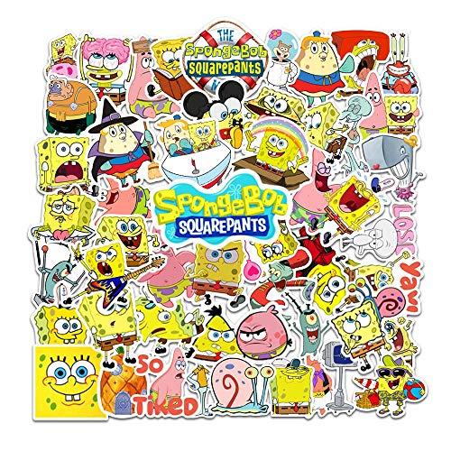 SHUYE Bob Esponja Pegatinas de Dibujos Animados Pegatinas de Maleta Impermeables Pegatinas de Cuaderno Pegatinas de Dibujos Animados 50 Hojas