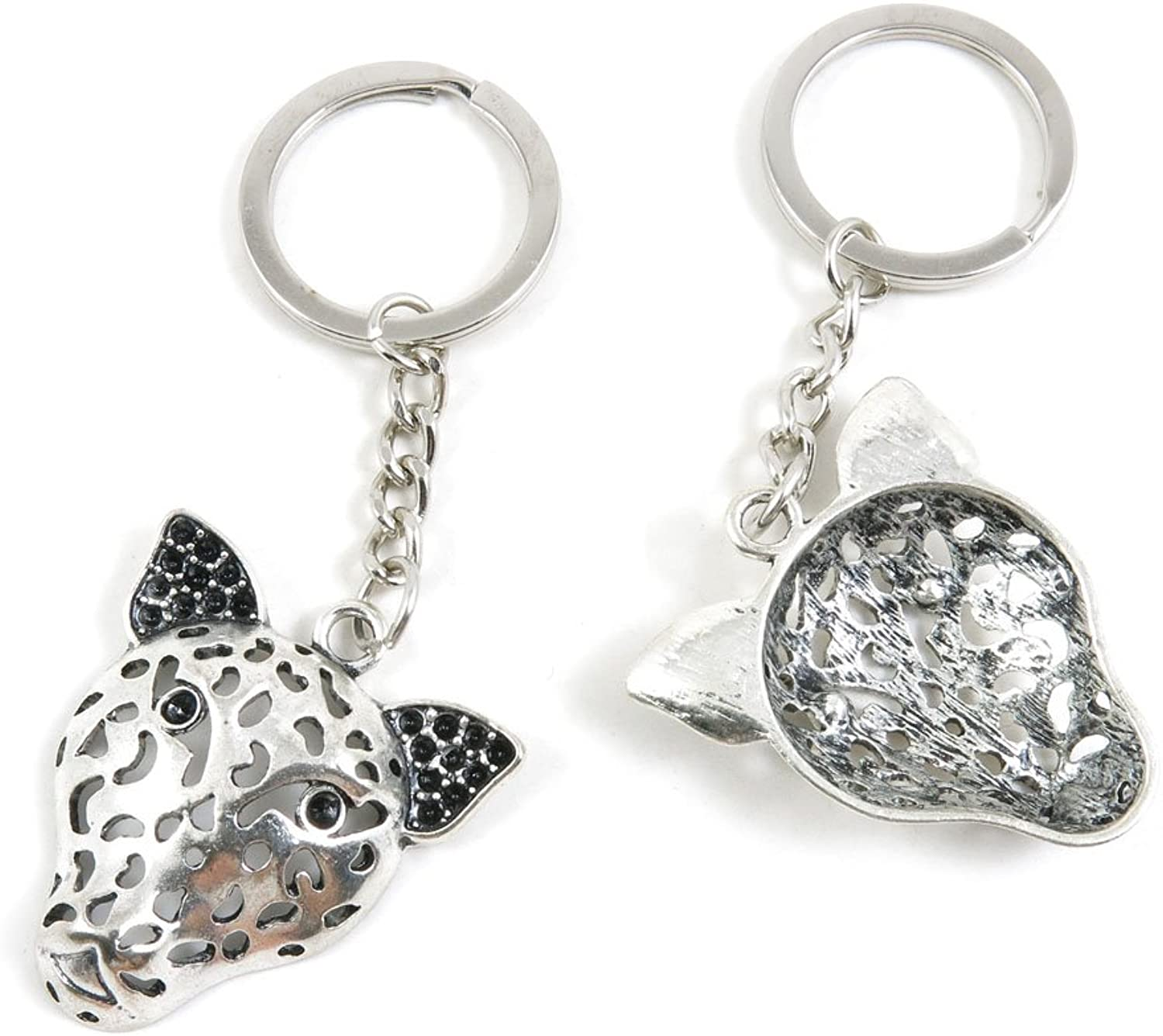 50 Pieces Keychain Keyring Door Car Key Chain Ring Tag Charms Bulk Supply Jewelry Making Clasp Findings Q3CI5T Leopard Head