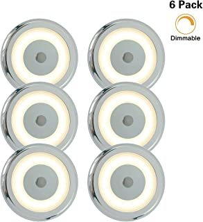 Genuine Marine RV Boat Touch Ceiling LED Light DC 12V 3W 2800K Soft White Full Aluminum Tap Light, Stepless Dimmable, Surface Mount and Hidden Fasteners Design, Stainless Steel Screws Included (6pk)