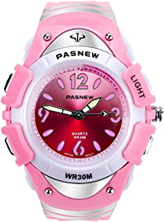 Kids Outdoor Sports Children's Waterproof Wrist Dress Watch with LED Digital Alarm Stopwatch Lightweight Silicone for Boy Girl (Pink)