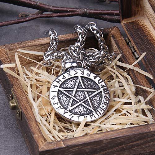 NDYD Pentagrama De Trofeo De Logro De Runas Vikingas De Acero Inoxidable, Esta Estrella Mágica De Cinco Puntas Es Un Amuleto Tradicional De Los Magos Nórdicos.