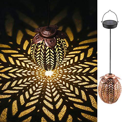 Linterna Solar Exterior LED Luz Solar Colgando Jardín Farolillo Solar Lámpara Linterna de Proyección de Diseño para Fiesta, Parque, Boda, Senderos, Patio, Navidad