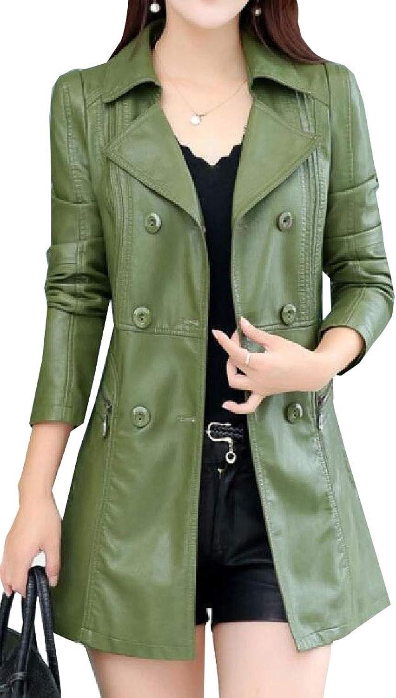 Gocgt Women Long Sleeve Lapel Double Breasted Faux Leather Trench Coat Belt