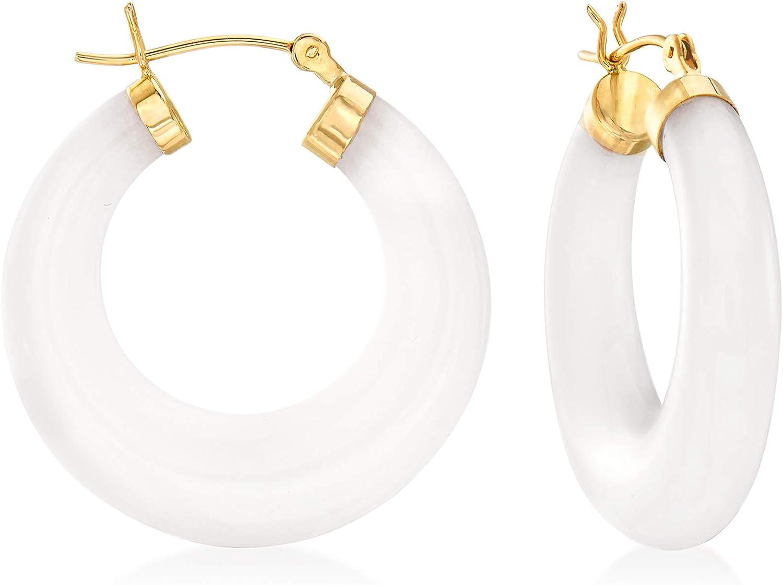 Ross-Simons White Kunlun Jade Ranking Large-scale sale TOP17 Hoop Yellow Gold in 14kt Earrings