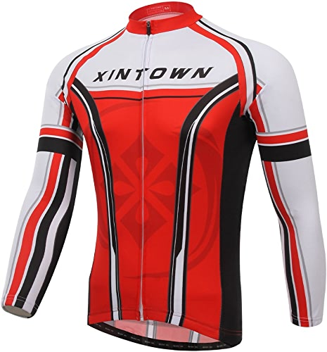 Manches Hommes Maillot cyclisme plein hiver Thermal Top Bike VêteHommests Costumes Couleur Rouge Taille M