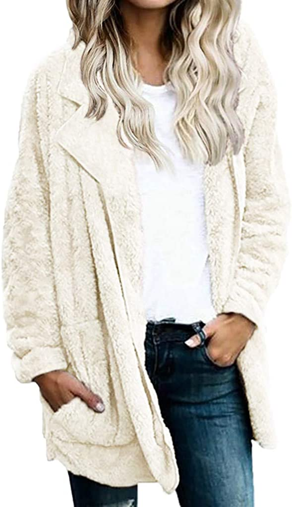 TOPUNDER Womens Warm Faux Fur Coat Jacket Winter Solid Long Oute