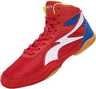 WJFGGXHK Kids Boxing Shoes, High Top Boxing Boots Breathable Non-Slip Children Wrestling Shoes Casual Athletic Shoe for Bo...