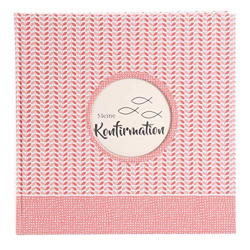 goldbuch Konfirmation Fotoalbum Dominicus mit 58 weißen 4 illustrierte Seiten, Album zum Einkleben, Silberprägung und Ausstanzung für eigenes Bild, Fotobuch, Papier, Koralle, ca. 25 x 25 cm