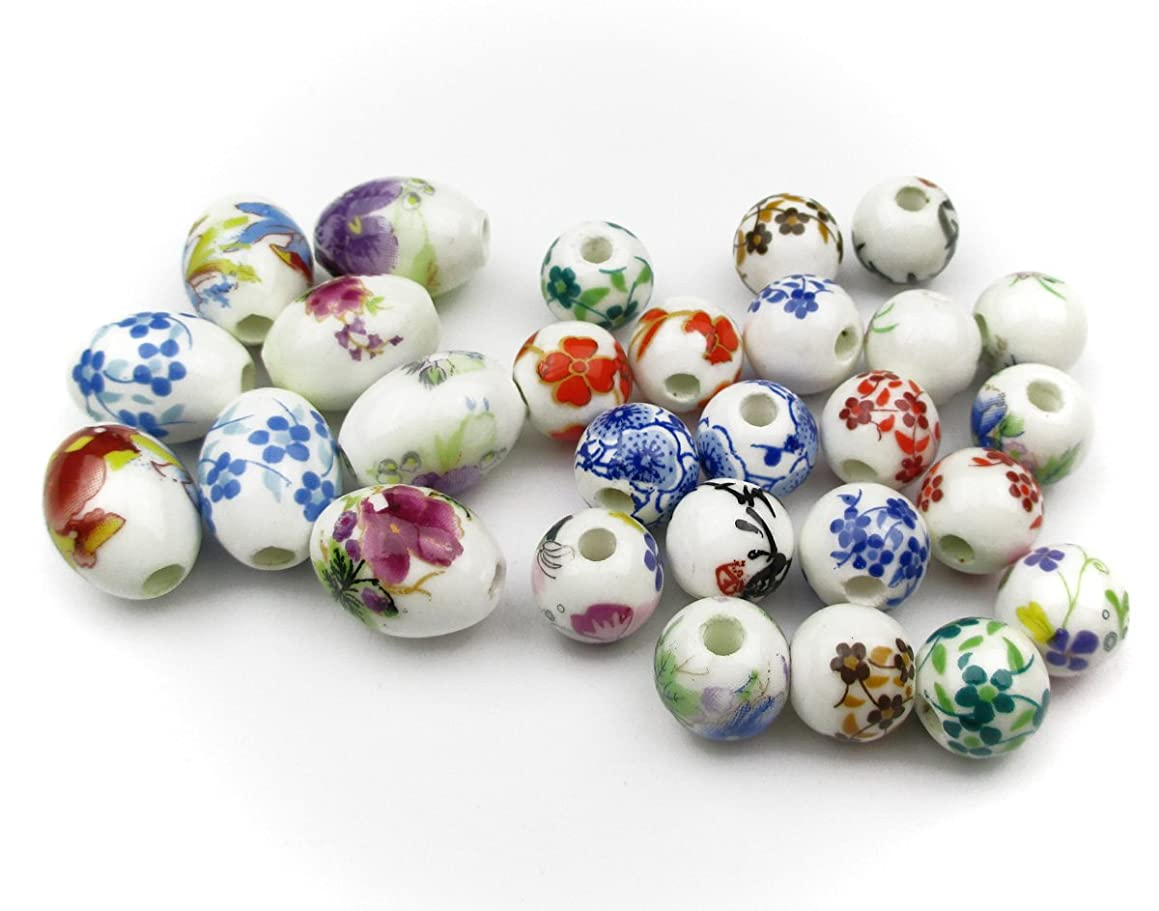 ALL in ONE 28pcs Round & Oval Exquisite Oblate Ceramic Porcelain Flower Decal Spacer Beads Traditional Chinese Style(mix 10mm+10x14mm)