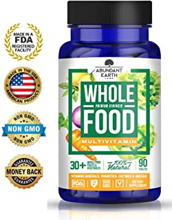 Whole Food Multivitamin, Multivitamin for Men, Multivitamin for Women, Vegan Multivitamin, All Natural Multivitamin, with Probiotics, Enzymes, B-Complex, Omegas for Energy, Brain, Heart Health, 90 Ct