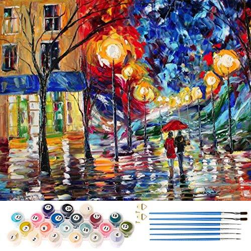 AICHUANGBAO Malen nach Zahlen Erwachsene Kinder Bummel DIY Handgemalt Ölgemälde Kits mit Pinsel, Acryl, Keine Zou hochwertige Farbleinwand Rahmenlos 40 x 50cm
