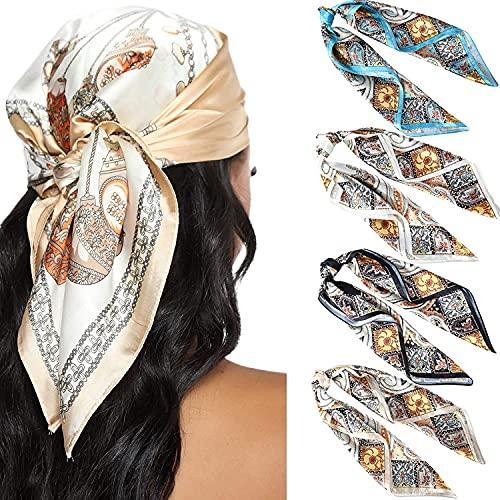 WELROG 4 PCs Pañuelos Cabeza Mujer Bandanas 60 * 60cm Pañuelo de Seda Similar a La Cabeza para Mujer BandanasBufanda de Pelo Manchado Bufanda de Cuello (Serie 6)