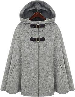 LaoZan Damski płaszcz wełniany ze sztucznego futra, ponczo na zimę, peacoat z kapturem, płaszcz