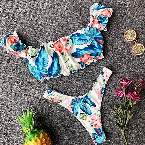 GUOZI Bikini Badmode Badpak Vrouwen Leuke Bikini Set Off Schouder Ruche Bikini Push Up
