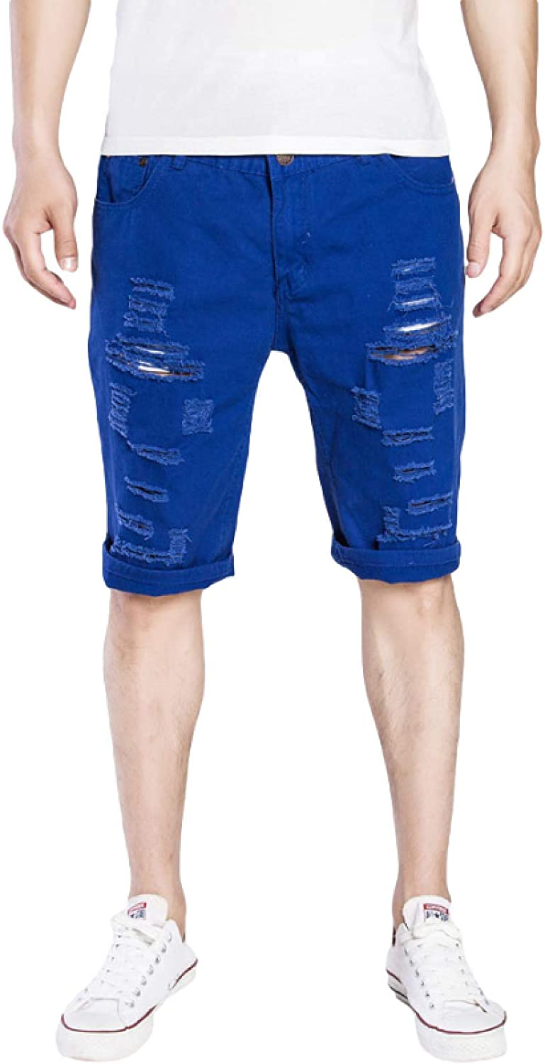 Wantess Men's Denim Shorts European and American Solid Color Holes Comfortable Stretch