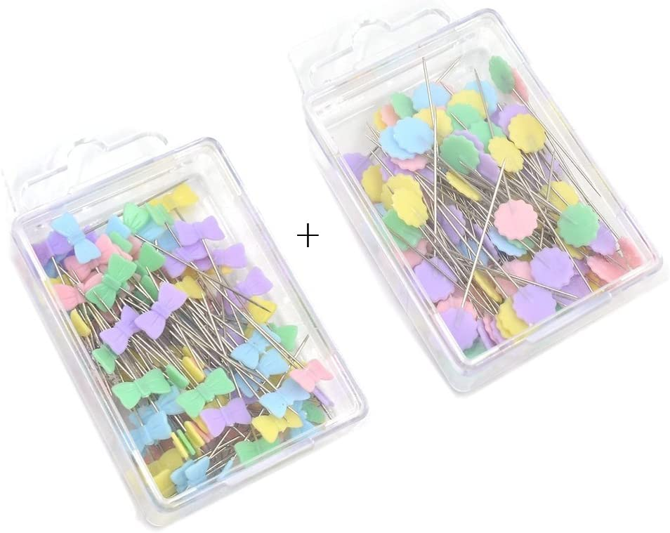 YJZ 200Pcs Patchwork Pins Flat Button Head Pins DIY Quilting Tool Accessori per il cucito