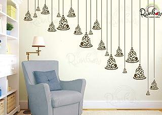 Rainbow Mazic Walls RNS 194 Spiritual Temple Bells Glossy Reusable Hanging Wall Stencils (PVC Paper) -Set of 3 Pieces