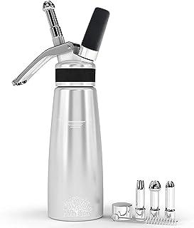 Pura Vida Professional Whipped Cream Dispenser Stainless Steel Decorating Tips – Durable Aluminum Whip Cream Canister - Perfect Cream Whipper Maker for Gift, Dishwasher Safe Whip Cream Dispenser