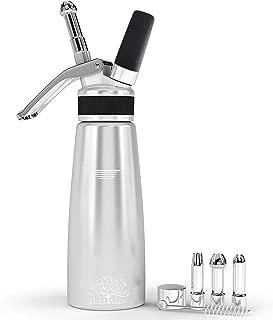 Pura Vida Professional Whipped Cream Dispenser Stainless Steel Decorating Tips – Durable Aluminum Whipped Cream Canister - Perfect Cream Whipper Maker for Gift, Dishwasher Safe Whip Cream Dispensers