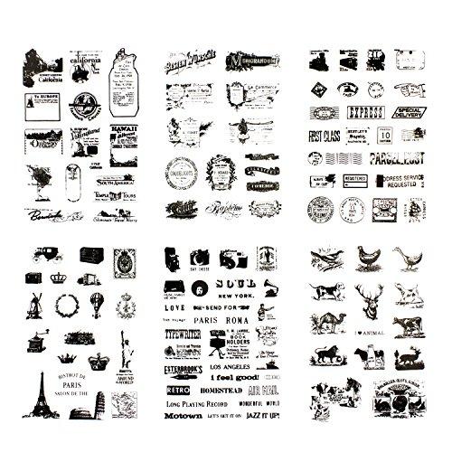 Oblique-Unique 120 x Sticker im Vintage Style Reisen Sehenswürdigkeiten Post Stempel Tiere Dekoration