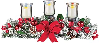 Collections Etc Winter Pines LED Candle Holder Centerpiece with Ornaments, Berries, Frosted Christmas Accent