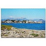 Spain Alcudia Beach Mallorca Jigsaw Puzzle 1000 piezas juego ilustraciones viaje recuerdo madera