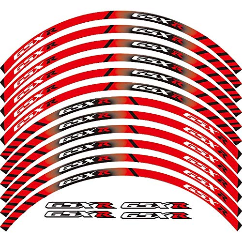 Calcomanías de rueda de rotura exterior de borde de borde de 12 x (Color : Rojo)