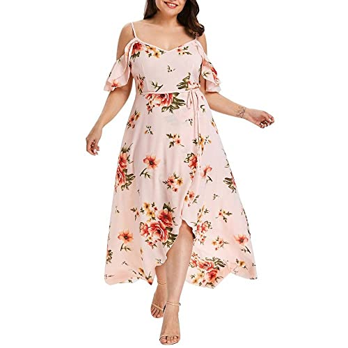 9bad05cb8a UOFOCO Party Dress Plus Size Long Dress Women Casual Short Sleeve Cold  Shoulder Boho Flower Print