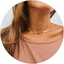 LOYATA 14K Gold Plated Choker Necklace, Bohemia Sequin Coins Delicate Chain Necklace with CZ Evil Eye Hamsa Hand Necklace for Women…