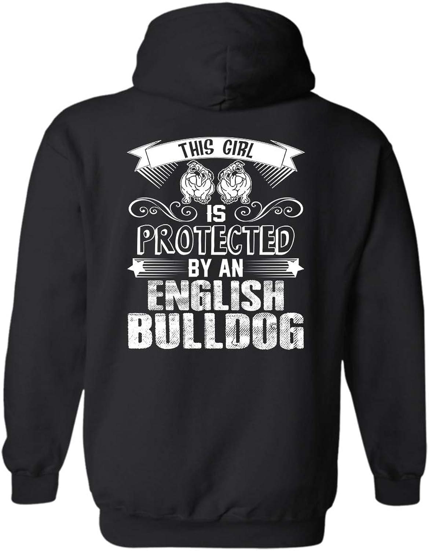 LightPink Predected by English Bulldog Hooded Sweatshirt, Long Sleeve Hoodies