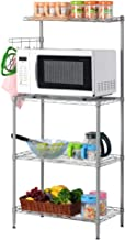 LANGRIA 3 Tier Microwave Stand Storage Rack, Kitchen Wire Shelving Microwave Oven Baker's Rack with Spice Rack Organizer, Silver Grey