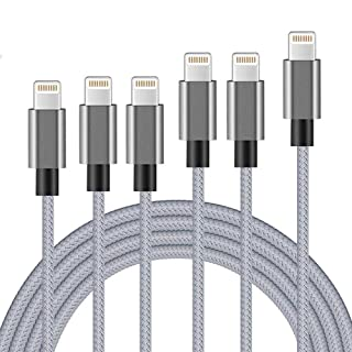 MFi Certified iPhone Charger Lightning Cable 6 Pack [3/3/3/6/6/10FT] Extra Long Nylon Braided USB Charging & Syncing Cord Compatible iPhone Xs/Max/XR/X/8/8Plus/7/7Plus/6S/6S Plus/SE/iPad