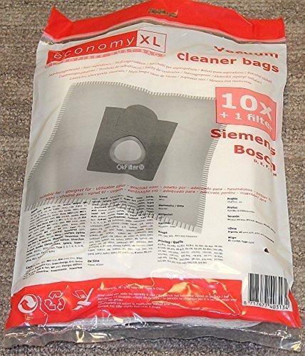 10x Bolsas de aspiradora Economy XL para Bosch, Type D, E, F, G, H, G XL, Menalux 2000EAN: 4260394239837
