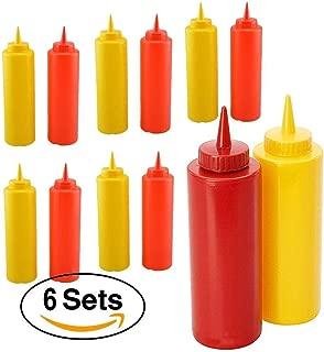 Ketchup & Mustard Dispenser Set, 6 Pack – 13.5oz (12 Total Bottles)