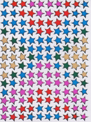 Etoiles coloré Decal autocollant de décalque 1 Metallic Glitter Dimensions de la feuille: 13,5 cm x 10 cm