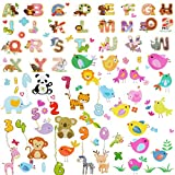 AriTan Alphabet Number Table Window Stickers for Kids Boys and Girls,Double Sided No Glue Flexible Reusable Clings,Decorations Cartoon Animal Birds