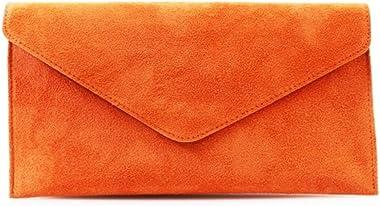 Damen-Clutch aus Veloursleder, italienisches Leder, Orange - Orange - Größe: Medium